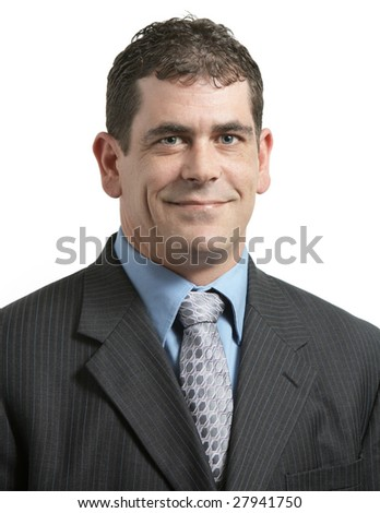 Handsome executive business portrait on white background - stock photo