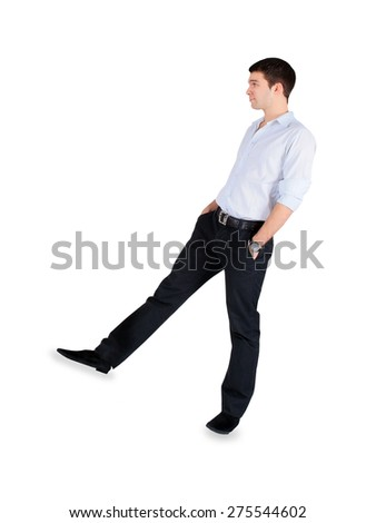 Handsome fashion Man standing over white