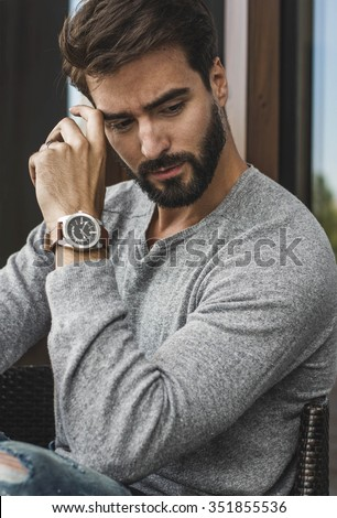 handsome fashionable man - stock photo