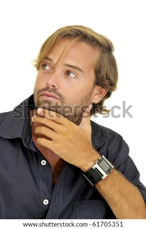 Handsome fashionable man posing isolated in white