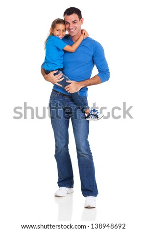 handsome father carrying his little daughter on white background - stock photo