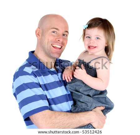 Handsome father with pretty daughter sharing a smile - stock photo