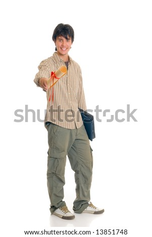Handsome graduated teenager boy student with laptop, casual dressed,  Studio shot, white background