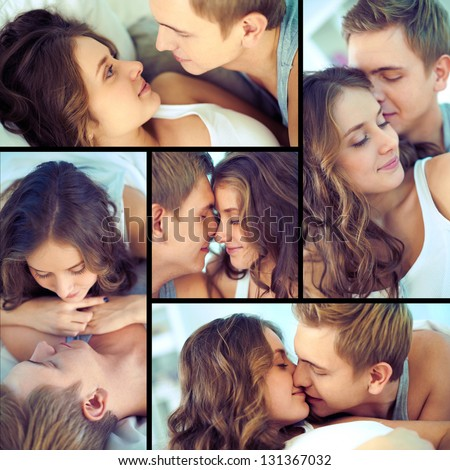 Handsome guy and his girlfriend enjoying being together - stock photo