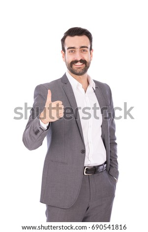 Handsome happy beard businessman smiling and thumbs up, guy wearing white shirt and gray suit, isolated on white background