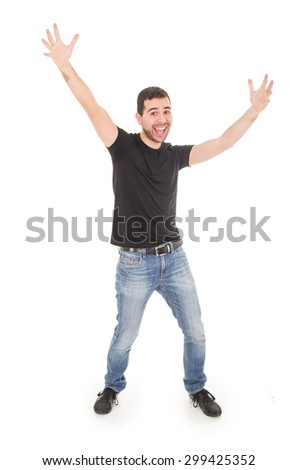 handsome happy guy posing with arms up isolated on white - stock photo