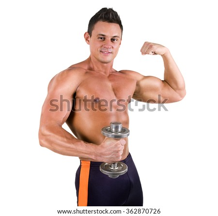 Handsome Healthy young man with muscular torso posing with dumbbell and smiling. Isolated on white background
