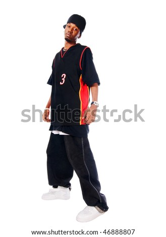Handsome hip-hop young man isolated on white background - stock photo