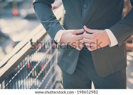 handsome hipster modern elegant man at home - stock photo