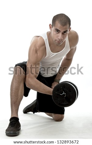 Handsome hispanic african american man working out