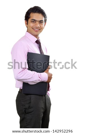 Handsome Indian businessman with document on white background. - stock photo