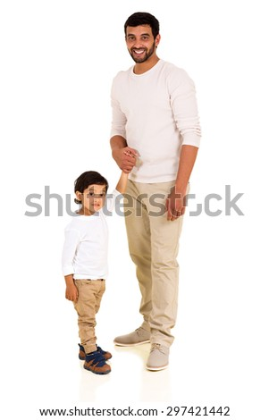 handsome indian man and son holding hands isolated on white - stock photo