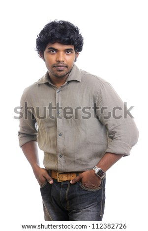 Handsome Indian young man posing on white background. - stock photo