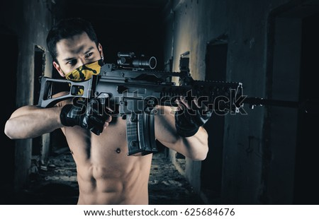 Handsome Latin Man Assassin With Weapon On A Dark Hallway