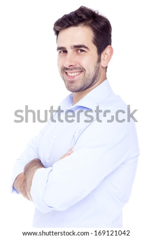 Handsome latin man smiling with satisfaction, isolated over a white background