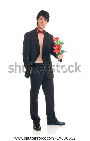 Handsome male gigolo with valentine flower,  Studio shot, white background - stock photo