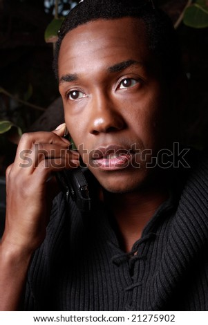 Handsome male model on the phone