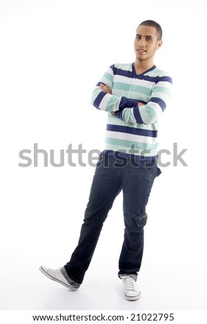 handsome male posing on a white background - stock photo