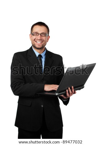 Handsome man, businessman with laptop looking at camera. Isolated on white background. - stock photo