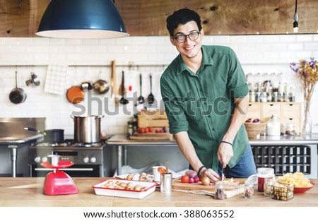 Handsome Man Chef Cook Cooking Concept - stock photo