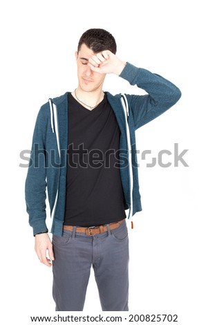 Handsome man doing different expressions in different sets of clothes - stock photo