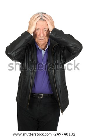 Handsome man doing different expressions in different sets of clothes: headache - stock photo
