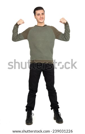 Handsome man doing different expressions in different sets of clothes: muscle - stock photo