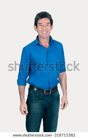 Handsome man doing different expressions in different sets of clothes: smile - stock photo