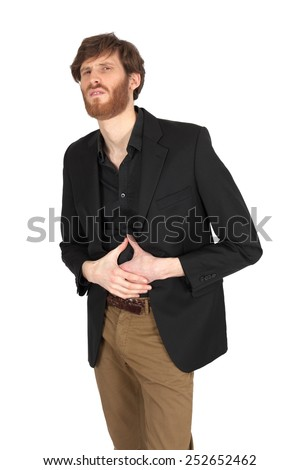 Handsome man doing different expressions in different sets of clothes: stomache - stock photo