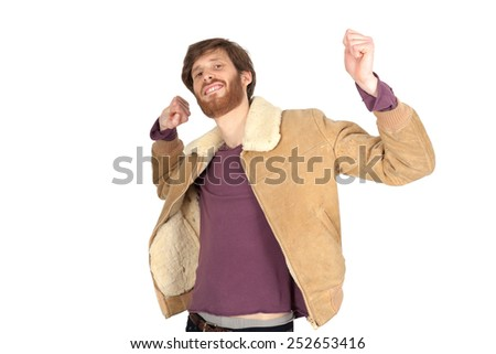 Handsome man doing different expressions in different sets of clothes: wake up - stock photo