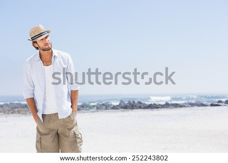 Handsome man enjoying the sunshine on a sunny day - stock photo
