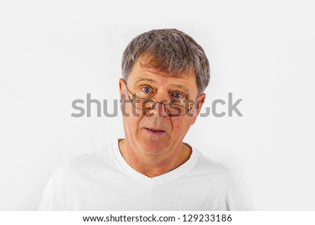 handsome man gesturing with white background