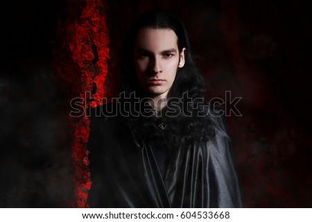 Handsome Man Gothic Vampire Style Stock Photo 604533668