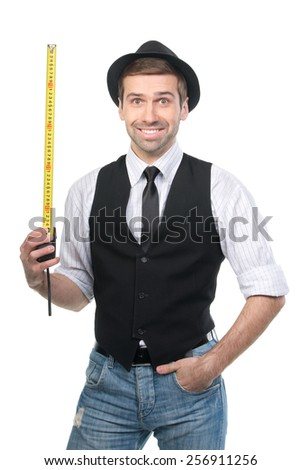 Handsome man in black hat with measure tape. Isolated over white - stock photo