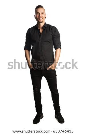 Handsome Man Black Shirt Black Jeans Stock Photo 633746435 ...