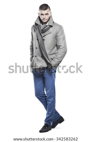 Handsome man in clothes for autumn-winter