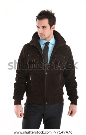 Handsome man in leather jacket and tie - stock photo