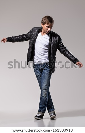 Handsome Man Leather Jacket Jeans White Stock Photo 161300918 ...