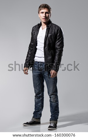 Handsome Man White Tshirt Grey Trousers Stock Photo 160300094 ...