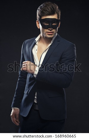 Handsome man in mask