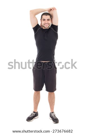 handsome man in sportswear warming hands before training isolated on white background - stock photo