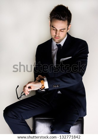 Handsome man in Suit - stock photo