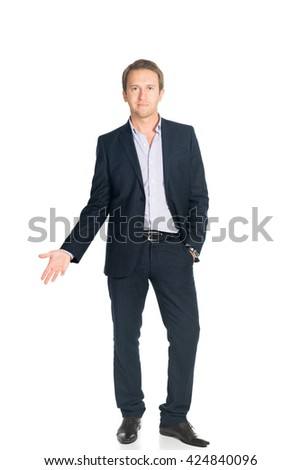 handsome man in suit isolated - stock photo