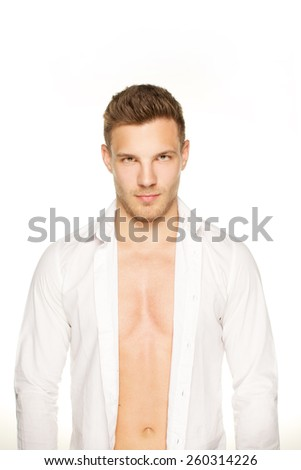 Handsome man look at camera on white background - stock photo