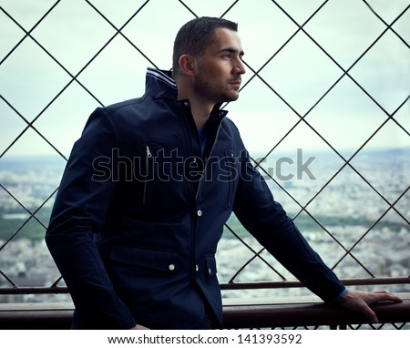 Handsome man looking forward - stock photo