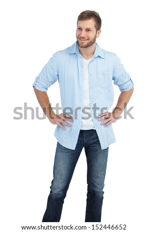 Handsome man on white background looking away  - stock photo