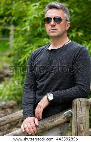 Handsome man. Outdoor male portrait.  - stock photo