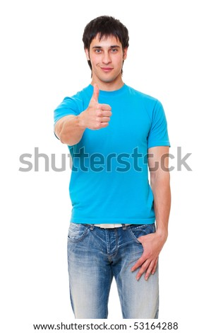 handsome man showing thumbs up. isolated on white background - stock photo