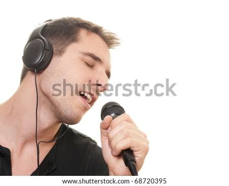 handsome man singing. - stock photo