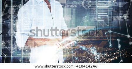 Handsome man using smart phone against image of a earth - stock photo